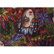 Poliéster impresso tecido de borboleta com tecido de malha
