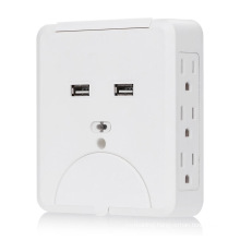 15A 6 AC Outlet with 2.1A Dual USB Wall Charger
