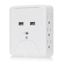 15A 6 tomada de corrente alternada com carregador de parede dual USB 2.1A