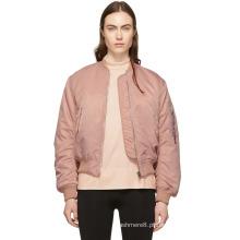 Nova jaqueta bombardeiro de cor sólida OEM para mulheres