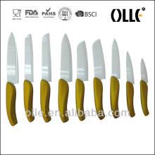 2016 Newest Technology Golden Ceramic Knife Set