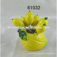 Venta al por mayor sandía fruta de cerámica conjunto de horquilla