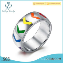 Colorful silver lgbt promise rings, silver gay mens promise rings