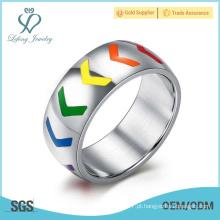 Anéis de prata coloridos da promessa do lgbt, anéis de prata da promessa dos homossexuais da prata