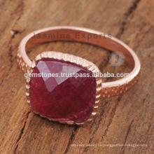 Anillos de piedras preciosas hechos a mano de oro rosa de rubíes Anillos de piedras preciosas naturales
