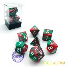 Bescon Christmas Gemini Polyhedral Dice Set, Two-tone RPG Dice Set of 7 d4 d6 d8 d10 d12 d20 d% Brick Box Pack