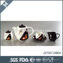 Chá de porcelana 15pcs conjunto com linha de ouro decalque banhado a ouro copo de chá