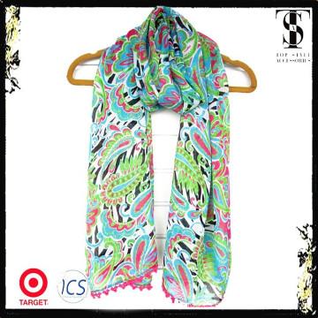 Bufanda brillante de la manera de la señora de la flor del resorte del color