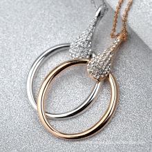 2016 neueste Design wunderbare Kreis Kristall Halskette erstaunliche Gold Kette Schleife künstliche Diamant-Halskette