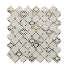 Soulscrafts Calacatta Gold Marble  Lantern Metal Blend Waterjet Mosaic Tile