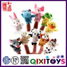 Realistic felpa mini animal marionetas de dedo marionetas de mano lindo bebé juguetes educativos hechos en China