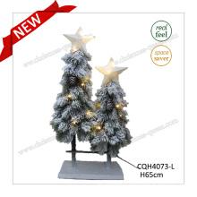H65cm Pre-Lit Snowy Pine Artificial Christmas Tree Decoration