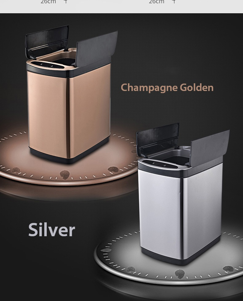 Silver or Golden Color stainless steel sensor trash bin