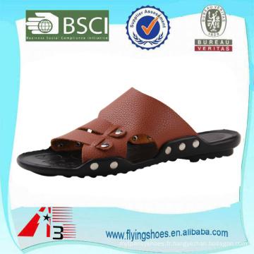 Pantoufles en caoutchouc en Chine, pantoufle en sandale de plage d'été, pantoufle en cuir de mode