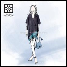 Hot Selling New Fashion Lady acrylique Poncho Couleur Plaine
