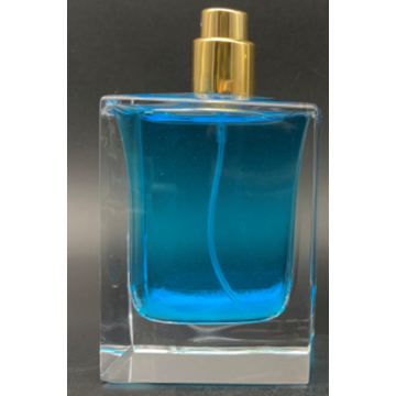 Flacon de parfum carré en verre transparent de 70 ml