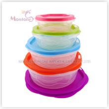 Caixa de almoço de 5pack Bento, recipiente de alimento plástico seguro do armazenamento da microonda