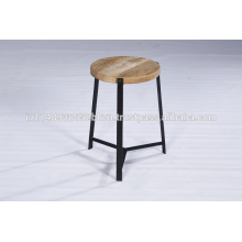 Industrial Vintage Panel Wood Top Metal Base Side Stool