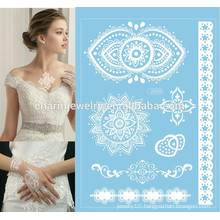 Hot sale beauty body flash water transfer sexy white lace tattoo sticker j006