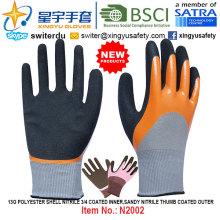 13G Полиэфирная оболочка из нитрила 3/4 с внутренним покрытием из песчаного нитрилового пальца с внешней поверхностью (N2002) с CE, En388, En420, рабочие перчатки