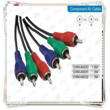 Plaqué or de haute qualité 1,5 m Noir 3RCA Câble MALE À MALE Câble vidéo / audio composite