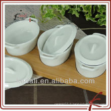 Hot Household White White Céramique Porcelaine Snack Dish With Bamboo Tray