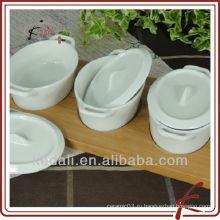 Горячее домашнее изделие Белое керамическое фарфоровое блюдо с закусками с подносом из бамбука