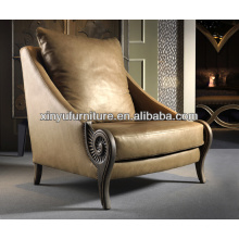 Gold leather carved sofa chair XY0177
