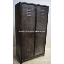 Industrial Vintage Locker Cabinet Natural Metal Finish