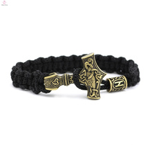 Bracelet viking en corde de marteau tissé en acier inoxydable