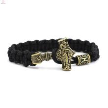 Stainless Steel Hammer Woven Rope Viking Bracelet