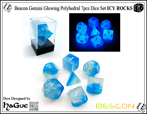 Bescon Gemini Glowing Polyhedral 7pcs Dice Set ICY ROCKS-2