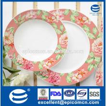 Flores de primavera de impresión placa de postre de cerámica y la placa de fruta