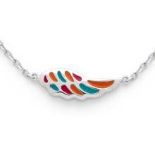 Collier en forme d'aile 925 bijoux en argent multi-chaîne pour enfants