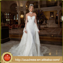 ASWY09 Elegant Two Pieces Removable Train Lace Bridal Gown Wedding Dresses 2016