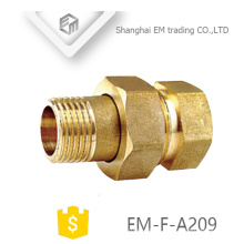 EM-F-A209 G male thread brass adapter pex pipe fitting with haxagon nut