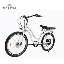 Elektrisches Strandkreuzerfahrräder der Frau weißes Aluminium / Strandkreuzer ebike Fahrrad