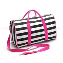 Customized Canvas Striated Promotional Tote Bag Satchel Travelling Bag