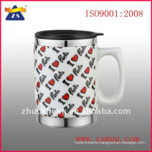 16oz ceramic out Stainless steel inner coffee mug