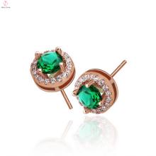 Simple Design 925 Silver Rose Gold Stud Earrings For Girls