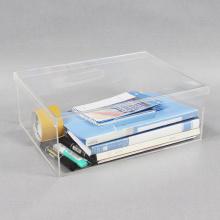 Organizador de escritorio de acrílico transparente con tapa