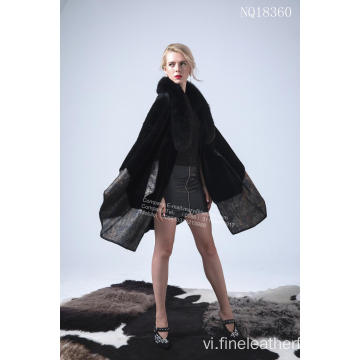 Úc Merino Shearling Cape Coat