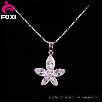 Beauty Flower Design White Gold Pendants Jewelry