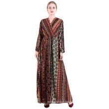 Women's elegant sense of quality bohemian printed dress 100% polyester