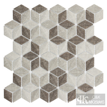 Beige 3D Diamond Fabric Printing glasmozaïek tegel
