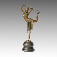 Dancer Bronze Sculpture Vaudeville Carving Brass Statue TPE-314