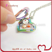 High quality heart shape 316L stainless steel floating locket pendant from professional locket manufacturer