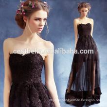 Damen Sexy Elegant Ruffle Short Front Lange Rückseite Black Prom Party Kleider