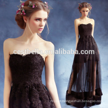 Ladies Sexy Elegant Ruffle Short Front Long Back Black Prom Vestidos de festa