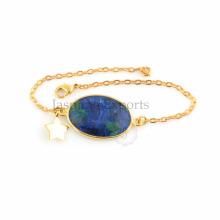 Mohave Azurite plaqué or bijoux en gros en argent